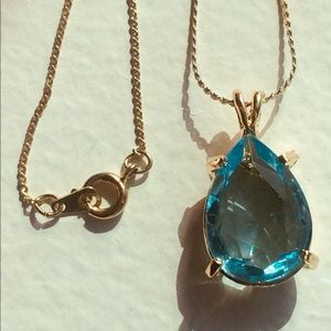 Vintage Pendant Necklace with Blue Topaz Teardrop